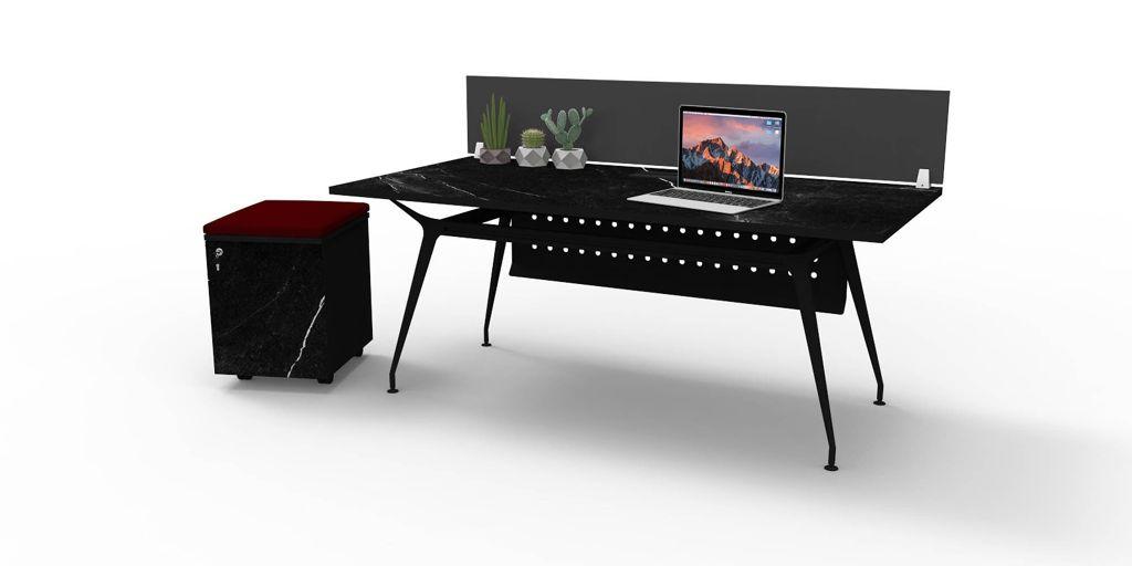 โต๊ะทำงานขา Karft แบบ 1 ที่นั่ง