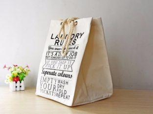 ถุงใส่ผ้า Laundry Rules สีขาว (BX09)