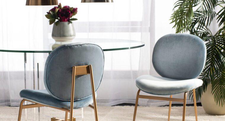 Studio Seven Jordana Round Side Chair, Set of 2, Slate Blue/Gold